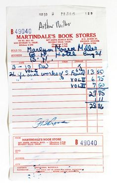BOOKSHOP RECEIPT: When asked by journalists what her religion was, Monroe    replied 'Freud'. She began reading his writings during her early years in    Hollywood. This receipt shows the purchase of all three volumes of his life    and works