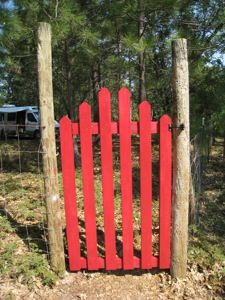 Garden Gate- this has so many possibilities it makes my head spin. Add plants, signs, collected items, feeders,etc. Garden Yard Ideas, Gnome Garden, Garden Projects, Garden Tools, Garden Path, Wooden Garden Gate, Wooden Gates, Japanese Pergola, Backyard Paradise