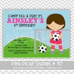 Soccer Girl: 157 ... Personalized Birthday Party Invitation OR Thank You Card ...Printable / Digital / You Print / DIY / jpg or pdf. $10.00, via Etsy.