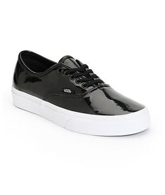 Add some wow factor to any outfit with these low top shoes constructed with a glossy black patent leather upper and durable vulcanized rubber outsole with the Vans waffle tread for grip.