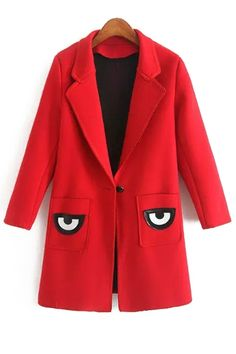 Pocket Eye Print Lapel Collar Long Sleeves Coat