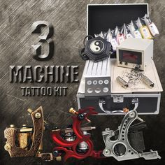 3 Machine Tattoo Kit