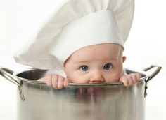 Picture of Close up portrait of a baby sitting wearing a chef hat sitting inside a large cooking stock pot, isolated on white stock photo, images and stock photography. Baby Cooking, Cooking With Kids, Newborn Pictures, Baby Pictures, Baby Images, Baby Kind, Baby Love, 2nd Baby, Baby Baby