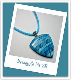 Turquiose Sky Mica Shift Striped Pendant Necklace, polymer clay Jewelry. $16.00, via Etsy.