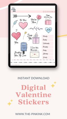 Digital Valentines Sticker Pack by The Pink Ink. Valentines Day sticker pack for Digital planning and digital note-taking. Celebrate Valentine's day in your digital Bullet Journal or Planner with these Valentine's day themed stickers. Use these with your digital planner on your Ipad pro or IPad and other tablets. Student Planner Printable, Valentine's Day Printables, Planner Template, Sticker Organization, Planner Organization, Create Your Own Planner, Inked Shop, Affinity Designer, Ipad Pro