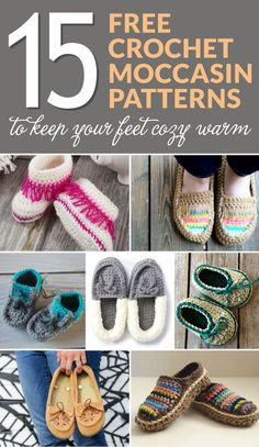 Have you ever wanted a pair of moccasins, or do you want to make some for a baby on the way? Then you have come to the right place! Here is a list of 15 free crochet moccasin patterns perfect for any age! #crochet #crochetmoccasins #freecrochetpatterns #crochetpatterns #crochetcslippers #crochetaddict