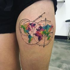 115 best world map tattoo images on pinterest map tattoos world pin for later these 61 map tattoos will give you major wanderlust watercolor world map gumiabroncs Gallery