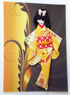 ATC1301 - Tomomi | ATC with hand-folded Japanese origami paper doll.