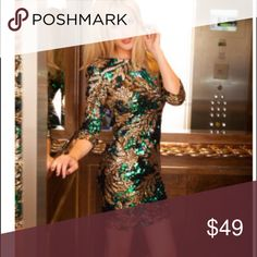 LAST TWO! Leaf Print Sequin dress Stunningly ❤️ beautiful! I love this dress for a night out! Long sleeved, sequins cover all over dress, fully lined, shoulder pads, zips in the back. Approx 36 in. Long. 100% Polyester.               Perfect for a cruise's elegant night, holiday party, charity even, ballroom event. Dresses Mini