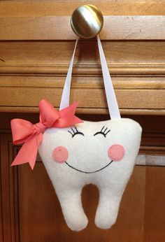 Personalized Pink and White Hanging Tooth by Intheloopembroidery, $10.00