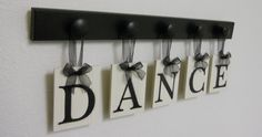 DANCE Art for Teenagers Room Sign  5 Wood Knobs by NelsonsGifts