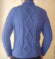 свитер мужской  с косами Василек Knitting Designs, Knitting Patterns, Knitted Shawls, Crochet Clothes, Free Knitting, Knitwear, Men Sweater, Pullover, Fashion