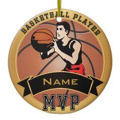 #Personalize MVP #Basketball Player #Christmas #Ornament  #zazzlebesties #zazzle #sports www.zazzle.com/designsbydonnasiggy*