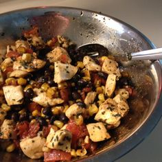 Low-Carb, High-Protien Southwestern/Mexican Meal: 2 Diced Chicken Breasts, sautéed with 2 tsp. Chili powder; 1 can black beans, drained; 1 sm. can whole kernel corn, drained; 1 lg. tomato diced, or 1 can diced tomatoes, drained; 1 T. Minced cilantro (optional). Mix all ingredients in a bowl and enjoy! Serves 2-4