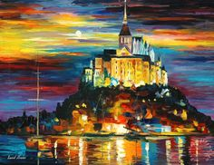 Leonid Afremov Night Harbor | ... The Harbor painting - Leonid Afremov Castle Above The Harbor Art Print