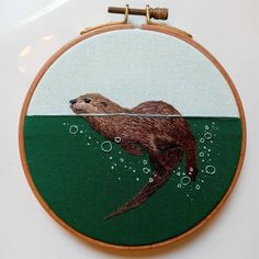 Water Animals, Like Animals, Modern Embroidery, Embroidery Hoop Art, Water Pictures, Colossal Art, Create Animation, Thread Painting, Embroidery Supplies