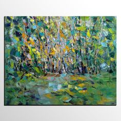 Oil paintings – Living Room Wall Art, Autumn Tree Oil Painting – a unique product by ColinArt on DaWanda