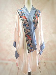 1920s Style Lingerie The Mable Rose- Art deco 1920s pink blue silk kimono  dressing gown ae80093ea