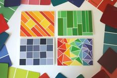 Who's ready for some wildly CREATIVE PAINT CHIP CRAFTS? How about 41 wildly creative paint chip crafts? Cool Diy, Paint Chip Cards, Paint Chip Wall, Chip Art, Paint Samples, Paint Sample Art, Paint Swatches, School Art Projects, Paint Chips