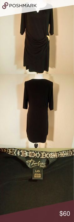 Thalia sodi dress Faux wrap design gathers at left waist with gold hardware detail. Scoop neckline with hardware keyhole cutout. Hits above the knee. Worn once. 95 polyester, 5 spandex thalia's sodi   Dresses Midi
