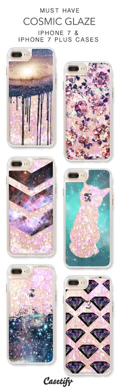 Must Have Cosmic Glaze iPhone 7 Cases & iPhone 7 Plus Cases. More galaxy liquid glitter protective iPhone case here > https://www.casetify.com/en_US/collections/iphone-7-glitter-cases#/?vc=VchwImv7E6
