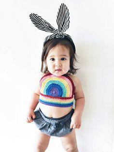 Crocheted Rainbow Halter, Kids Crop Top, Girls rainbow tank,Baby summer top, Baby Hippie Top, Baby Halter top,Chidrens Fashion, Kids Fashion - pinned by pin4etsy.com
