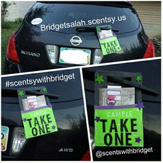 """I made a """"sample take one"""" bag for my car. This way if I go into a store or the mall I can put it on my car and promote myself and Scentsy :) Contact me for your Scentsy needs. www.tammymwilliams.scentsy.us"""