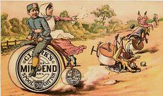 Victorian Advertising Trade Card Clark's Sewing Thread 1890s Bicycle Race