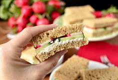 Let's Party: Easy Finger Sandwiches for Party Season...whole wheat bread, Burrata Cheese( fresh mozz filled with shreds of mozz, soaked in cream), cucumber, radishes.  http://www.bhg.com/blogs/delish-dish/2013/04/10/lets-party-easy-finger-sandwiches-for-party-season/