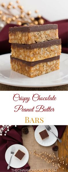 Crispy, chewy, peanut buttery, chocolatey deliciousness all wrapped up in a neat little bar! Perfect for holiday dessert trays, sharing with family and friends, and generally making your life better. These squares are my family's go-to Christmas treat!| thecinnamonscrolls.com @cinnamonscribe