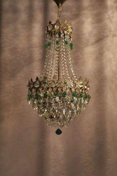 Vintage-Antique-Crystal-1930-s-Old-Basket-Chandelier-French-Luster-Kronleuchter