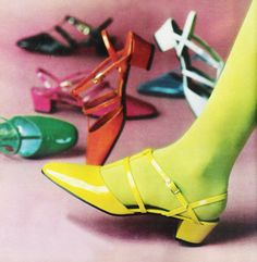 "March 1968. ""Great! to be girlish again…to tingle with tantalizing color, to shimmer in the sunshine sparkle of Intrigue Patenlite."" ~ Qualicraft shoes"