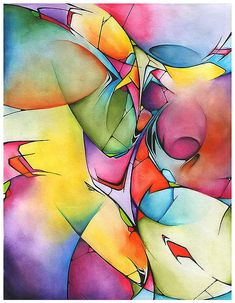 Jeff Reid ~ Watercolor abstract 2, 2008 (watercolor, ink)