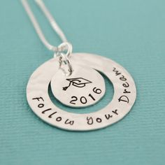 Follow Your Dream Necklace Personalized Graduation Jewelry | Etsy #tracytayandesigns #followyourdream #graduationnecklace #gradgiftideas