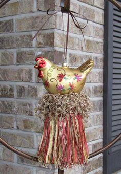 Glass Hen / Chicken Decorative Tassel by SassyBunnyBowtique