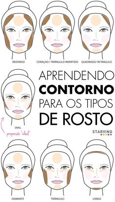 contorno para os formatos de rosto oval redondo longo diamante triangulo iluminador etc. Face Contouring, Contour Makeup, Contouring And Highlighting, Skin Makeup, Love Makeup, Makeup Art, Makeup Tips, Makeup Looks, Makeup Geek