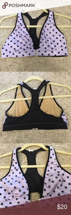 Polkadot lululemon sports bra This 36C athletic sports bra has no flaw but missing the removable pads - however new owner can place new ones in. Middle class is very comfortable and shows a great fit and figure. Mesh on the back allowing breathable movement. lululemon athletica Intimates & Sleepwear Bras