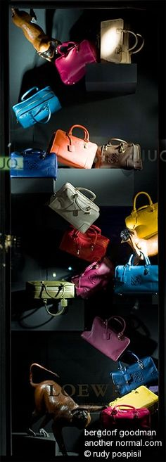 it's in the bag, pinned by Ton van der Veer Display Window, Bag Display, Shoe Display, Visual Display, Display Ideas, Retail Windows, Store Windows, Hand Work Embroidery, Shop Fittings