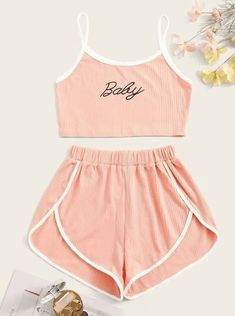 Shop Letter Graphic Rib Cami Pajama Set at ROMWE, discover more fashion styles online. Cute Lazy Outfits, Teenage Outfits, Outfits For Teens, Trendy Outfits, Cool Outfits, Pink Outfits, Girls Fashion Clothes, Teen Fashion Outfits, Cute Fashion