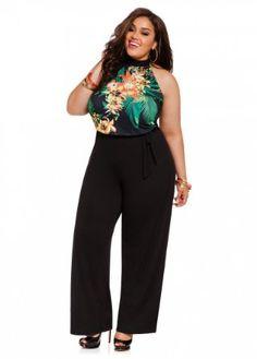 615a9fbb39f2 Amazon.com  Ashley Stewart Women s Plus Size Tropical Print Halter Jumpsuit   Clothing  49.50