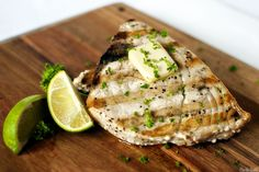 """Grilled swordfish steak is one of the most delicious and popular grilled fish recipe.Cook swordfish steak with ginger and lime and you""""ll never forget this unique flavor. Fish Dishes, Seafood Dishes, Fish And Seafood, Seafood Recipes, Main Dishes, Grilled Fish Recipes, Steak Recipes, Cooking Recipes, Top Recipes"""