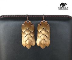 Extra Large Scale Maille Statement Earrings, Bronze Dragon Jewelry by UrsulaChainmaille for $17.00