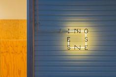 innosense_04 Sign Board Design, Exterior Signage, Sign System, Signage Design, Branding Design, Logo Sign, Shop Signs, Signages, Cafe Sign