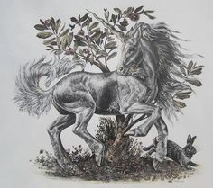 Fabulous Prancing Unicorn Print by M Pena by CollectibleOddities