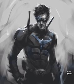 "weearts: "" Nightwing sketch!! I really liked how this one turned out!! Lil fan art based on Ismahawk's Nightwing series, which just released their trailer (awesome btw). I dig how the outfit feels..."