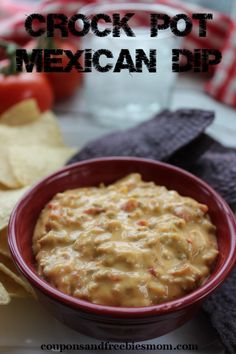 Cheesy Crock Pot Mexican Dip! Simple & delicious Slow Cooker #recipe! This will become a family favorite in no time and is perfect for parties! Warning: This yummy dip will be gone in the blink of an eye, and everyone will be begging for more! :) Check out this super easy (and addictive!) recipe now!