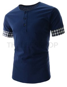 (HAST01-NAVY) Thelees Mens Slim Fit Checker Pattern Patch Short Sleeve Tshirts