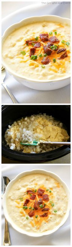 Creamy Potato Soup - A super easy soup that is thrown in the slow cooker. the-girl-who-ate-everything.com