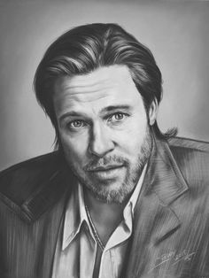 Buy Portrait of Brad Pitt, a Pastel on Paper by TEODOR BOZHINOV from United States. It portrays: Portrait, relevant to: pastel portrait, cinema, Black and White Portrait, Fine Art Portrait, Portrait of Brad Pitt Black and white portrait of Brad Pitt, in a classical, realistic style, traditionally handpainted on acid free pastel paper ..