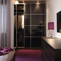 Wardrobes with sliding doors, like PAX, require no additional space for opening, making them a great storage option for small spaces.